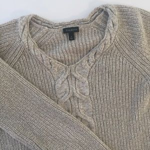 Talbots Cable Knit Sweater Side ZIP Detail Embell